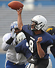 Aaron Ruthman #8 of Elmont throws a pass during the Nassau County Senior Bowl, pitting the all-stars of Conferences I and IV (White Team) against their Conferences II and III (Blue Team) counterparts at Mitchel Athletic Complex on Thursday, Nov. 24, 2016.