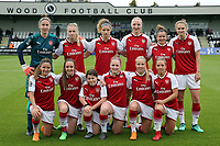 Arsenal women line-up before Arsenal Women vs Manchester City Women, FA Women's Super League FA WSL1 Football at Meadow Park on 12th May 2018