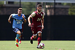28 August 2016: Elon's Nick Adamczyk (20) is chased by San Diego's Jared Hegardt (27). The Elon University Phoenix played the University of San Diego Toreros at Koskinen Stadium in Durham, North Carolina in a 2016 NCAA Division I Men's Soccer match. USD won the game 2-1.