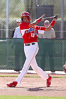 Yairo Munoz #13 of the Dominican Prospect League All-stars plays against the Langley (British Columbia) Blaze in an exhibition game at Surprise Recreational Complex, the Texas Rangers minor league complex, on March 22, 2011 in Surprise, Arizona..Photo by:  Bill Mitchell/Four Seam Images