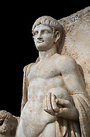 Detail of a Roman Sebasteion relief  sculpture of Emperor Nero , Aphrodisias Museum, Aphrodisias, Turkey. <br /> <br /> Naked warrior emperor Nero holds the orb of world rule in one hand and crowns the military trophy with the other. Between the trophy and the emperor stands a bound captive boy. He wears long barbarian trousers and looks up at Nero.