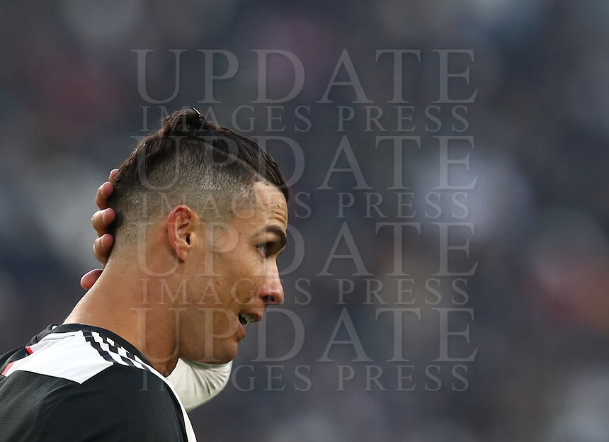Calcio, Serie A: Juventus - Cagliari, Turin, Allianz Stadium, January 6, 2020.<br /> Juventus' Cristiano Ronaldo reacts during the Italian Serie A football match between Juventus and Cagliari at Torino's Allianz stadium, on January 6, 2020.<br /> UPDATE IMAGES PRESS/Isabella Bonotto