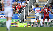 9th September 2017, Madejski Stadium, Reading, England; EFL Championship football, Reading versus Bristol City; Frank Fielding of Bristol City saves the shot from Jon Daoi Boovarsson of Reading