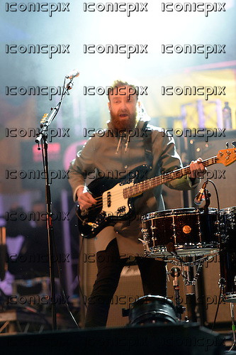 TWIN ATLANTIC - bassist Ross McNae - performing live on the In New Music We Trust Stage on Day Two at the BBC RADIO ONE BIG WEEKEND on Glasgow Green in Glasgow Scotland UK - 24 May 2014.  Photo credit: George Chin/IconicPix