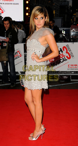 "ASHLEY TISDALE.The UK Film Premiere of ""High School Musical 3: Senior Year"" at the Empire Leicester Square in London, England, UK. .October 7th 2008.full length long hair extensions grey gray silver dress sheer crystals studded neckline shoes open toe clutch bag hand on hip .CAP/CAN.©Can Nguyen/Capital Pictures."