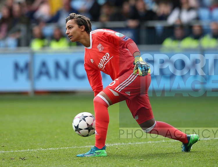 Sarah Bouhaddi of Lyon during the Women's Champions League, Semi Final 1st leg match at the Academy Stadium, Manchester. Picture date 22nd April 2018. Picture credit should read: Simon Bellis/Sportimage