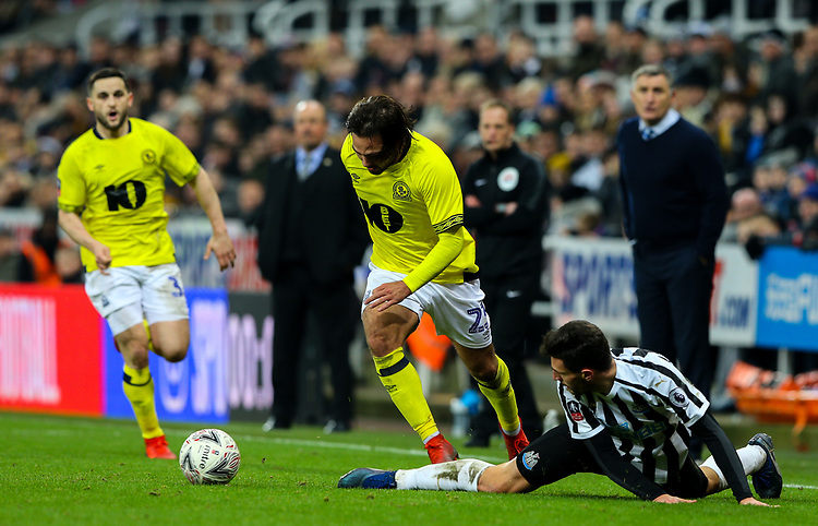 Blackburn Rovers' Bradley Dack goes past Newcastle United's Jamie Sterry<br /> <br /> Photographer Alex Dodd/CameraSport<br /> <br /> Emirates FA Cup Third Round - Newcastle United v Blackburn Rovers - Saturday 5th January 2019 - St James' Park - Newcastle<br />  <br /> World Copyright © 2019 CameraSport. All rights reserved. 43 Linden Ave. Countesthorpe. Leicester. England. LE8 5PG - Tel: +44 (0) 116 277 4147 - admin@camerasport.com - www.camerasport.com