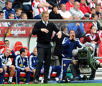 Garry Monk manager of Swansea City issues instructions to his players during the Barclays Premier League match between Sunderland and Swansea City played at Stadium of Light, Sunderland