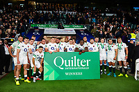 The England team pose for a photo after the match. Quilter International match between England and South Africa on November 3, 2018 at Twickenham Stadium in London, England. Photo by: Patrick Khachfe / Onside Images