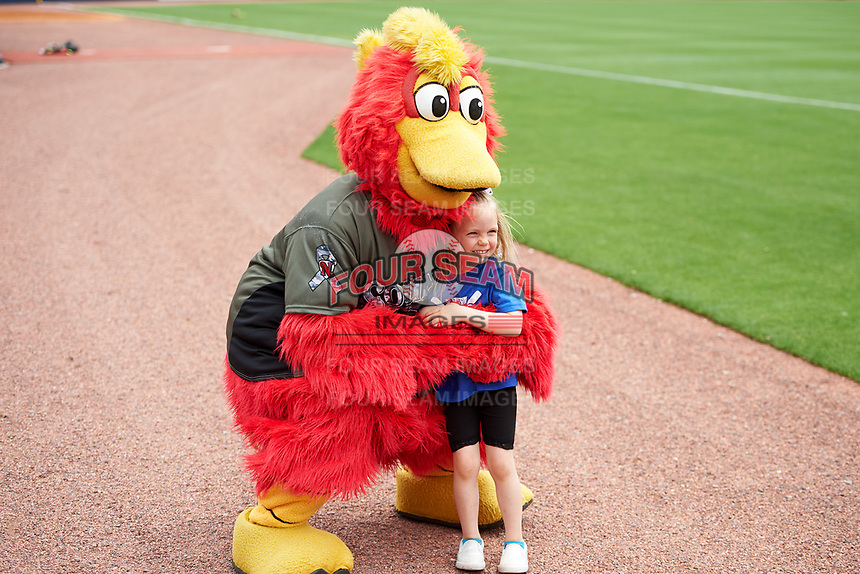 The Nashville Sounds mascot Booster The Rooster poses with a young fan before a game against the New Orleans Baby Cakes on April 30, 2017 at First Tennessee Park in Nashville, Tennessee.  The game was postponed due to inclement weather in the fourth inning.  (Mike Janes/Four Seam Images)