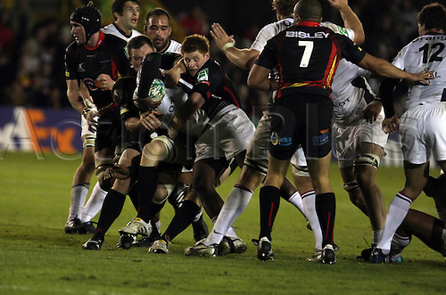 16.10.2010 Heineken Cup Rugby Newport Gwent Dragons v Toulouse...Vilimoni Delasau (Toulouse) uses his strength to break through the Newport Gwent Dragons Defence