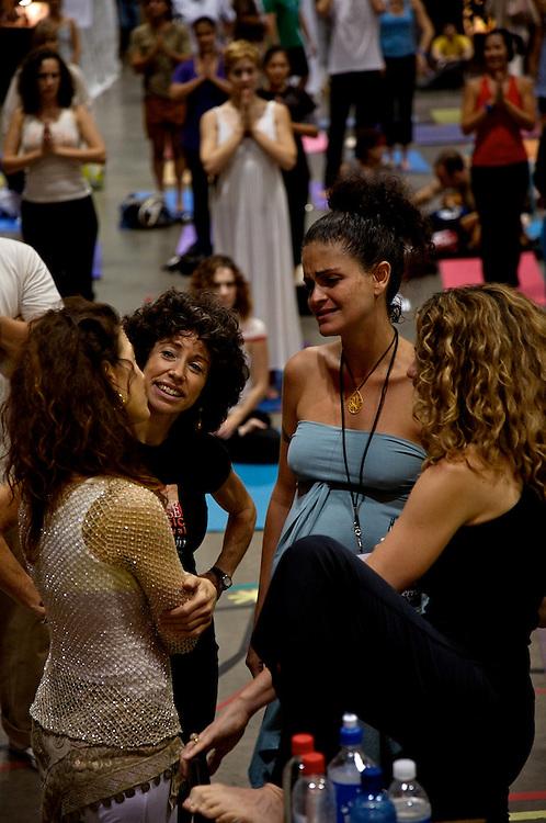 Global Mala Project (GMP) event. Hala Khouri, Donna De Lory, Seane Corn and friend.