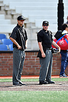 First base umpire Justin Whiddon and home plate umpire Tyler Thurmond before a game between the Danville Braves and the Johnson City Cardinals at TVA Credit Union Ballpark on July 23, 2017 in Johnson City, Tennessee. The Cardinals defeated the Braves 8-5. (Tony Farlow/Four Seam Images)