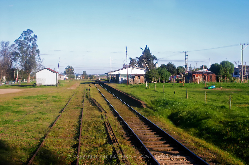 The Juanico railway station and the tracks. Bodega Juanico Familia Deicas Winery, Juanico, Canelones, Uruguay, South America