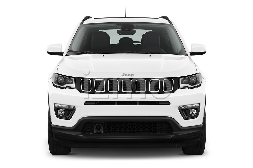 Car photography straight front view of a 2017 Jeep Compass Latitude 5 Door SUV