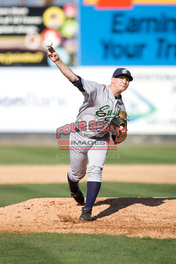 July 18, 2010: Eugene Emeralds' Christopher Franklin (#11) pitches during a Northwest League game against the Everett AquaSox at Everett Memorial Stadium in Everett, Washington.