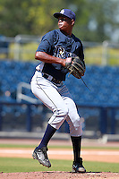 Tampa Bay Rays minor league pitcher Enny Romero during an Instructional League game vs. the Minnesota Twins at Charlotte Sports Park in Port Charlotte, Florida;  October 5, 2010.  Photo By Mike Janes/Four Seam Images