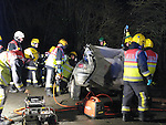 Fire crew from Drogheda and Dunleer had to use cutting equipment to remove the male driver of the peugeot 206 car shortly after 7 am friday morning. Four units of the ambulance service stabilised the driver as fire crew cut the vehicle away from the driver, removing the roof, passanger side doors and passenger seats with cutting equipment before being able to remove the driver to our lady of lourdes hospital in Drogheda. All through out the ordeal the driver stayed talking the the emergency crew as they took the car apart around him.Photo: Newsfile/Fran Caffrey.