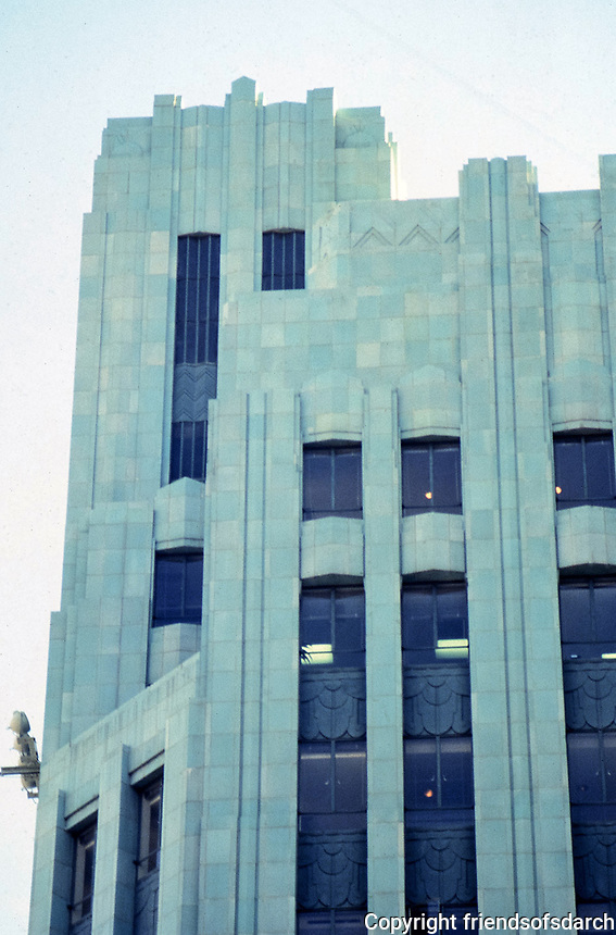 Los Angeles: Wiltern Theater, 1930-31. Morgan, Walls & Clements. Art Deco detail, terra-cotta tile. Photo Dec. 1987.
