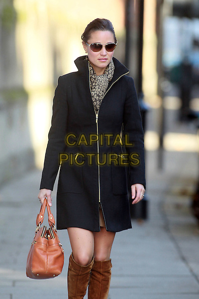 Pippa Middleton spotted in Chelsea, London, England..October 25th, 2011.half 3/4 length black coat jacket brown suede boots scarf orange bag purse sunglasses shades .CAP/HIL.©John Hillcoat/Capital Pictures .