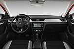 Stock photo of straight dashboard view of a 2018 Skoda Rapid Spaceback Ambition 5 Door Hatchback