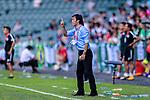Kitchee SC Head Coach Chu Chi Kwong gestures during the Hong Kong FA Cup final between Kitchee and Wofoo Tai Po at the Hong Kong Stadium on May 26, 2018 in Hong Kong, Hong Kong. Photo by Marcio Rodrigo Machado / Power Sport Images