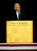 Boston, MA - August 28, 2009 -- United States Senator Christopher Dodd (Democrat of Connecticut) speaks during the Celebration of Life Memorial Service for Senator Edward Kennedy at the John F. Kennedy Library in Boston, Massachusetts, USA 28 August 2009.  Senator Edward Kennedy, 77, died 25 August 2009 after a 14-month battle with brain cancer..Credit: CJ  Gunther - Pool via CNP