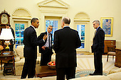 Washington, DC - October 28, 2009 -- United States President Barack Obama talks with, left to right, Chief of Staff Rahm Emanuel, Deputy National Security Advisor Tom Donilon and NSC Chief of Staff Denis McDonough in the Oval Office, October 28, 2009..Mandatory Credit: Pete Souza - White House via CNP