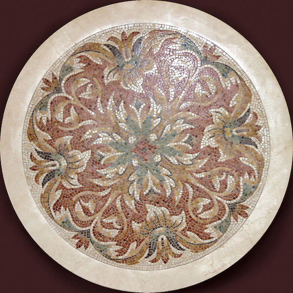 Custom stone hand chopped tumbled scroll-acanthus medallion.