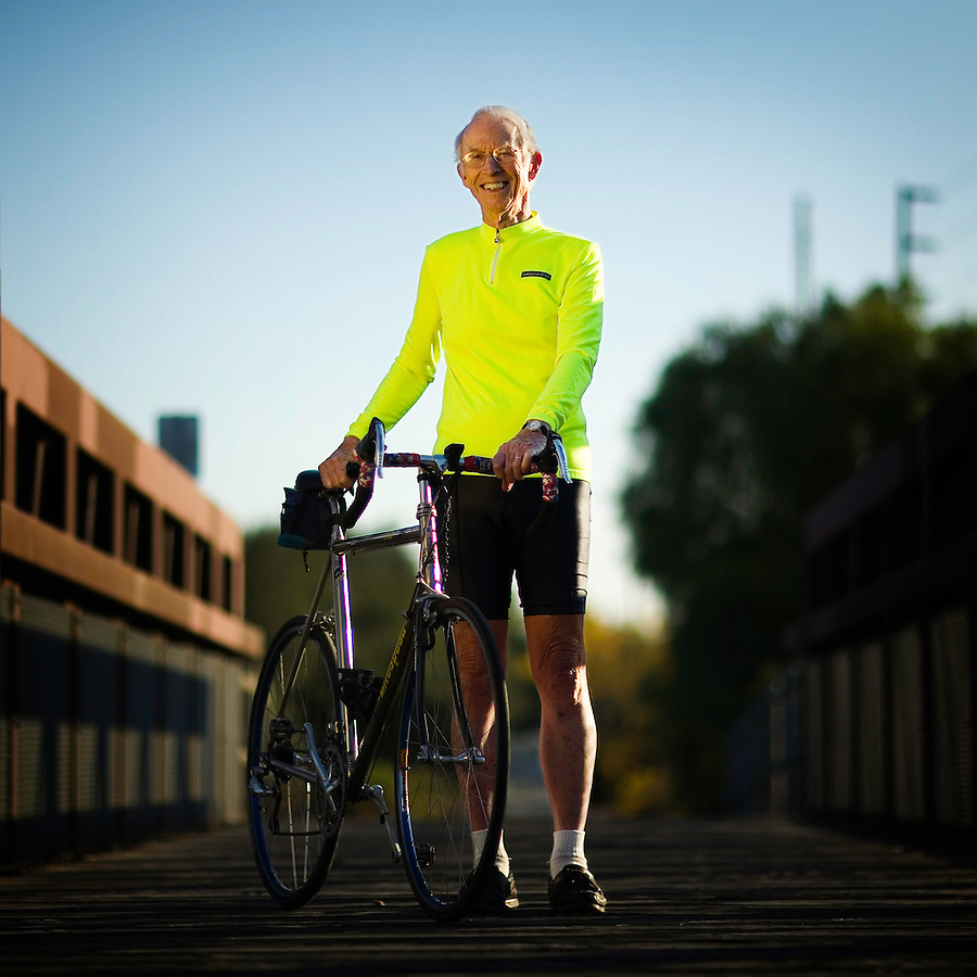 Daryl Peveto &copy; 2006<br /> <br /> At age 84, Don Graves, of Ventura, has been cycling in some capacity nearly his whole life, as shown here on one of his favorite paths, the Ventura River Trail, Ventura, Calif., Friday, December 8, 2006. When asked how he got his start he says, &quot;Well I would have to say when I had my bike route back in grade school.&quot; Since then he has ridden in Europe and Asia and holds several local and state records. Graves says he rides three times a week, &quot;On Tuesdays' I ride to Fillmore and back, Thursdays to Ojai up the Ventura River Trail, and on Saturdays I do a relaxing ride with friends.&quot;