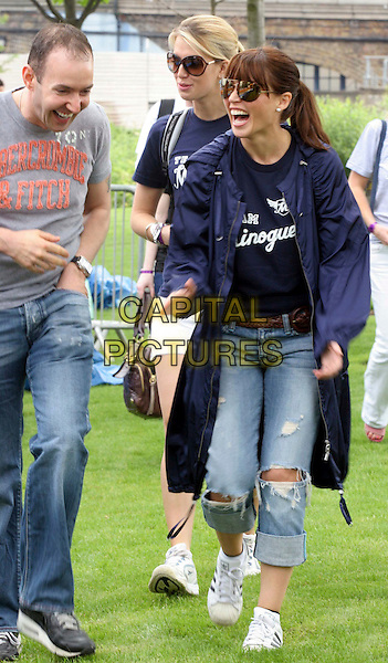 DANNII MINOGUE.The Crusaid's Walk For Life, Potters Fields Park near Tower Bridge, London, England, UK..June 1st, 2008.full length sunglasses shades blue coat t-shirt ripped torn jeans denim adidas trainers mouth open laughing .CAP/DS.©Dudley Smith/Capital Pictures