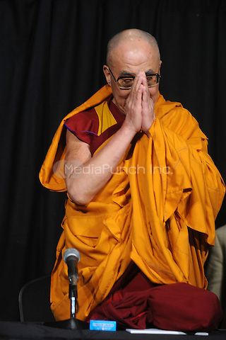 The Dalai Lama speaks during a press conference after the first of his teaching sessions at Radio City Hall in New York. May 20, 2010.Credit: Dennis Van Tine/MediaPunch