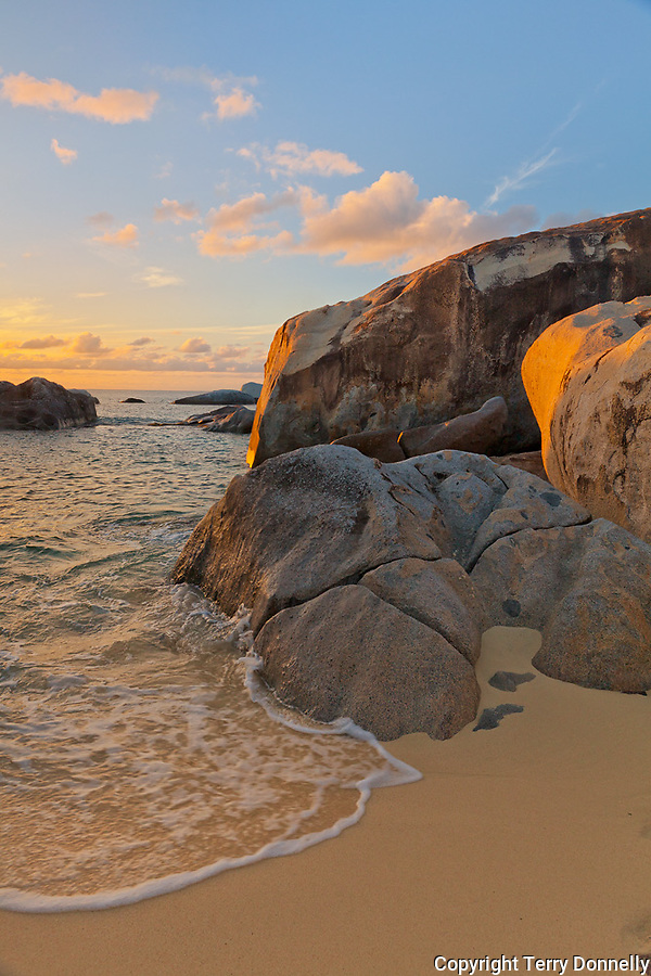 Virgin Gorda, British Virgin Islands in the  Caribbean<br /> Evening light on a pool among the granite bouldersand beach known as The Crawl in Spring Bay National Park