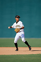 GCL Pirates shortstop Ji-Hwan Bae (2) throws to first base during a game against the GCL Yankees West on August 2, 2018 at Pirate City Complex in Bradenton, Florida.  GCL Pirates defeated GCL Yankees West 6-2.  (Mike Janes/Four Seam Images)