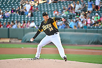 Salt Lake Bees starting pitcher Alex Sanabia (34) delivers a pitch to the plate against the Las Vegas 51s in Pacific Coast League action at Smith's Ballpark on June 25, 2015 in Salt Lake City, Utah.  Las Vegas defeated Salt Lake 20-8.  (Stephen Smith/Four Seam Images)