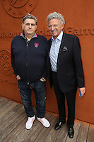 Pierre Menes and Nelson Monfort seen at 'Le Village de Roland Garros during Roland Garros tennis open 2016 on may 28 2016.