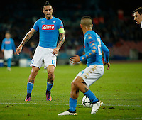 Marek Hamsik during the Champions League Group  soccer match between SSC Napoli and   Dinamo Kiev  at the San Paolo  Stadium inNaples November 24, 2016