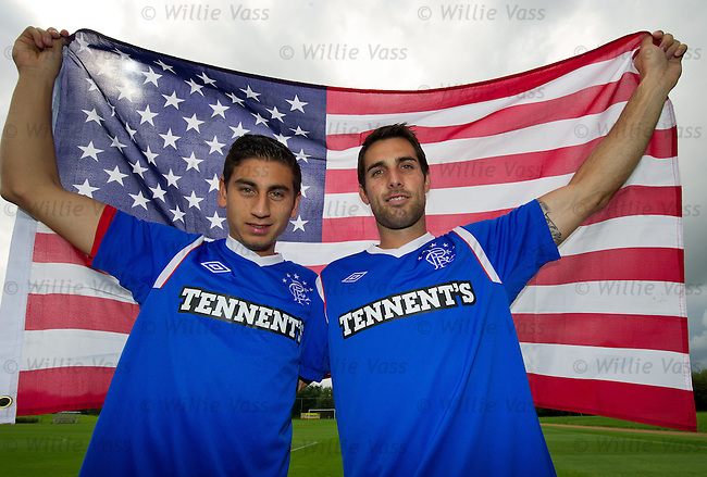 USA stars Alejandro Bedoya and Carlos Bocanegra at Murray Park before training