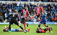 Lincoln City's John Akinde scores the first goal for Lincoln City<br /> <br /> Photographer Andrew Vaughan/CameraSport<br /> <br /> The EFL Sky Bet League One - Wycombe Wanderers v Lincoln City - Saturday 7th September 2019 - Adams Park - Wycombe<br /> <br /> World Copyright © 2019 CameraSport. All rights reserved. 43 Linden Ave. Countesthorpe. Leicester. England. LE8 5PG - Tel: +44 (0) 116 277 4147 - admin@camerasport.com - www.camerasport.com