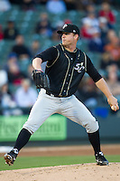 Omaha Storm Chasers pitcher Will Smith #31 delivers a pitch to the plate against the Round Rock Express in the Pacific Coast League baseball game on April 4, 2013 at the Dell Diamond in Round Rock, Texas. Round Rock defeated Omaha in their season opener 3-1. (Andrew Woolley/Four Seam Images).