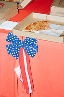 Cheese pizza lays on a table during a gathering of volunteers in the Palm Beach Republican Club and West Palm Beach Victory Headquarters office in West Palm Beach, Florida. The office serves as a place for volunteers to gather and organize for various Republican campaigns, including Donald Trump's general election campaign.