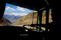 Scenery of the Himalayan mountains from the bus drivers' cabin on 3rd June 2009 on the way to Leh from Hemis and Ulley Valley, Ladakh, Jammu & Kashmir.  The valley of Ladakh is located in the Indian Himalayas, in the northern state of Jammu and Kashmir. Photo by Suzanne Lee