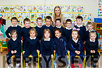 Teacher Frieda Leahy pictured with all her new Junior infants at Abbeydorney NS last Friday Sept 1st.