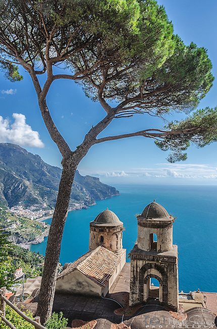 The chapel at Villa Rufolo in Ravello overlooks a magnificent view of the Amalfi Coast in Italy,