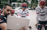 Alberto Contador (ESP/Trek-Segafredo) &amp; his Trek-Segafredo teammates preparing for a coffee/training-ride 1 day before the start of the 104th Tour de France 2017 <br /> &quot;Le Grand D&eacute;part&quot; in D&uuml;sseldorf/Germany