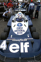 LONG BEACH, CA: Patrick Depailler waits to drive the Tyrrell P34 2/Ford Cosworth DFV during practice for the United States Grand Prix West on April 3, 1977, on the temporary street circuit in Long Beach, California.