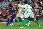 League Santander 2017/2018. Game: 01.<br /> FC Barcelona vs Real Betis: 2-0.<br /> Lionel Messi vs Barragan.