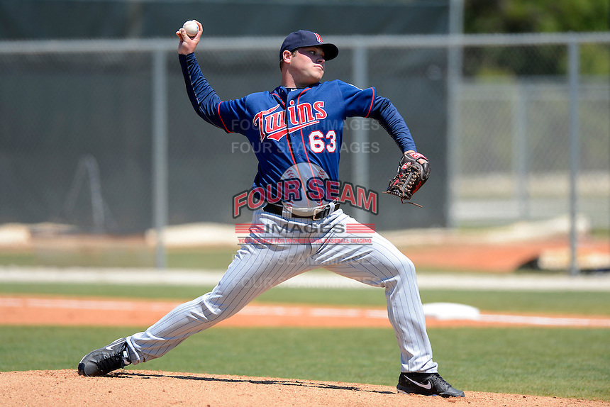 Minnesota Twins pitcher Tom Stuifbergen #63 during a minor league Spring Training game against the Boston Red Sox at JetBlue Park Training Complex on March 27, 2013 in Fort Myers, Florida.  (Mike Janes/Four Seam Images)