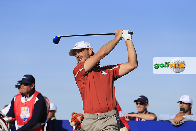 Tommy Fleetwood (Team Europe) tees off the 12th tee during Saturday's Foursomes Matches at the 2018 Ryder Cup 2018, Le Golf National, Ile-de-France, France. 29/09/2018.<br /> Picture Eoin Clarke / Golffile.ie<br /> <br /> All photo usage must carry mandatory copyright credit (© Golffile   Eoin Clarke)