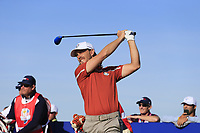Tommy Fleetwood (Team Europe) tees off the 12th tee during Saturday's Foursomes Matches at the 2018 Ryder Cup 2018, Le Golf National, Ile-de-France, France. 29/09/2018.<br /> Picture Eoin Clarke / Golffile.ie<br /> <br /> All photo usage must carry mandatory copyright credit (© Golffile | Eoin Clarke)